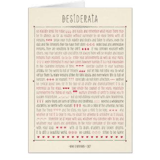 Cartão Poema inspirado dos Desiderata
