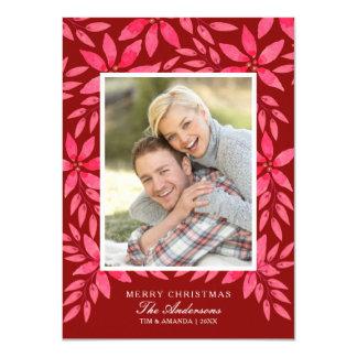 Cartão Poinsétia pintado à mão da aguarela do Natal