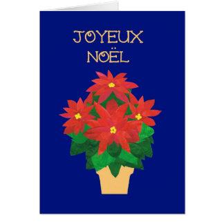 Cartão Poinsétias vermelhas no cumprimento azul da língua