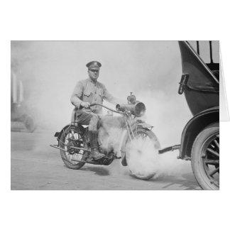 Cartão Polícia de motocicleta em Dever, 1923
