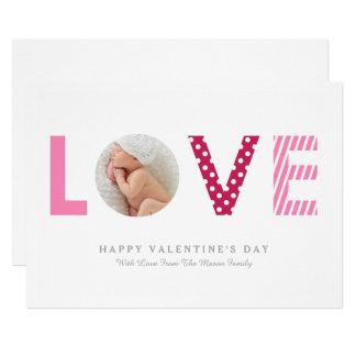 Cartão Polkadots & rosa das listras  /vermelho