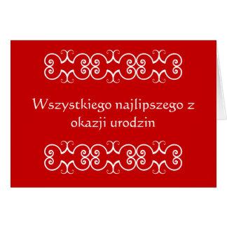 Cartão polonês do aniversário