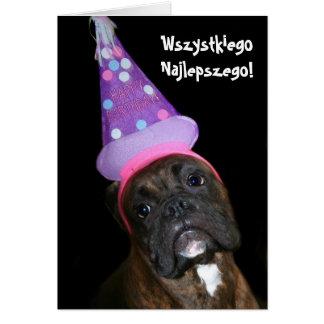 Cartão polonês do pugilista do aniversário de