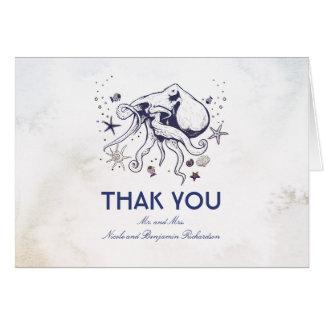 Cartão Polvo - obrigado náutico do casamento você