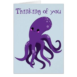 Cartão Polvo roxo que pensa de você