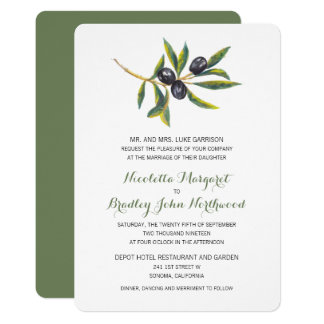Cartão Pomar verde-oliva   da aguarela que Wedding