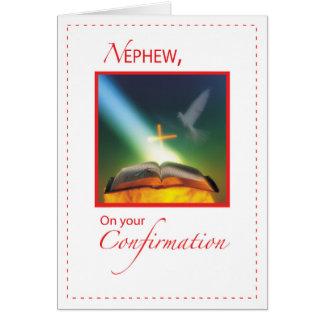 Cartão Pomba da confirmação do sobrinho, bíblia, cruz