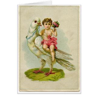 Cartão Pomba da equitação do querubim
