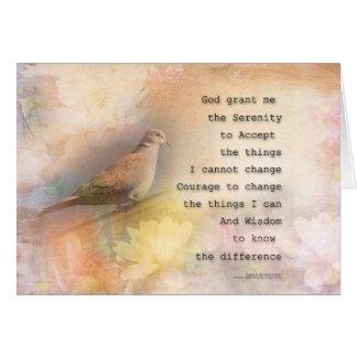 Cartão Pomba e flores da oração da serenidade