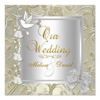Cartão Pomba elegante do branco da prata do ouro do