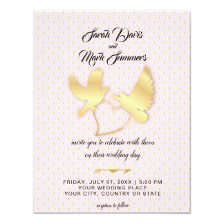 Cartão Pombas e cisnes douradas, um casamento dourado do