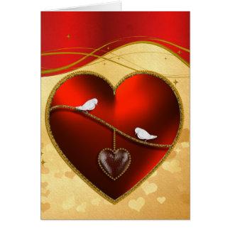 Cartão Pombas e coração do vermelho do rubi