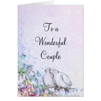 Cartão Pombas e flores
