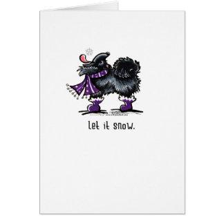 Cartão Pomeranian preto deixou-o nevar