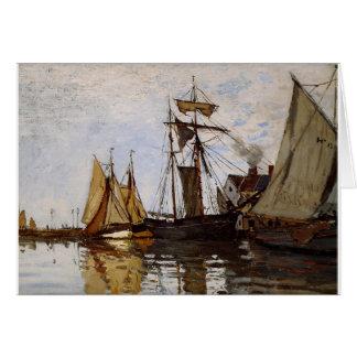 Cartão Pont de Honfleur Sun por Claude Monet