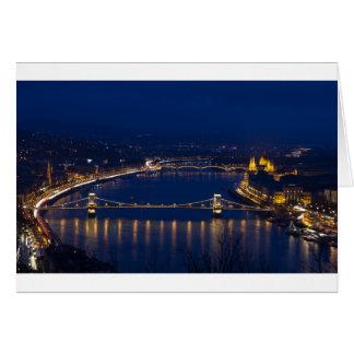 Cartão Ponte Chain Hungria Budapest na noite