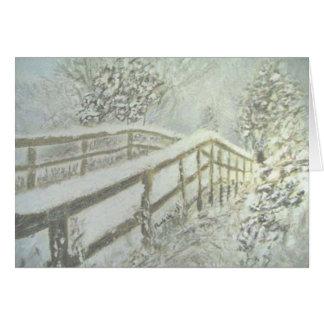 Cartão Ponte coberto de neve