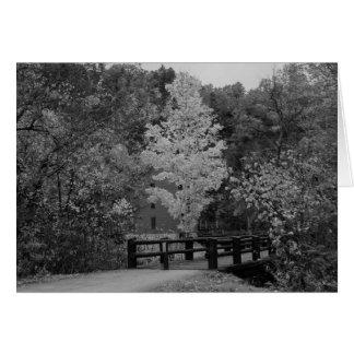 Cartão Ponte da passagem ao Grayscale do moinho do beco