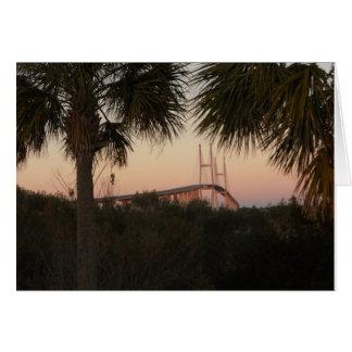 Cartão Ponte de Sidney Lanier no por do sol