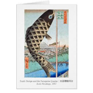 Cartão Ponte de Suido do papagaio de HIroshige