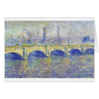 Cartão Ponte de Waterloo, efeito do Sun por Claude Monet