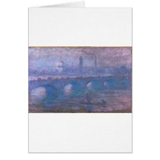 Cartão Ponte de Waterloo, manhã enevoada por Claude Monet