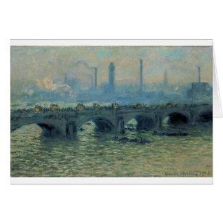 Cartão Ponte de Waterloo, tempo cinzento por Claude Monet
