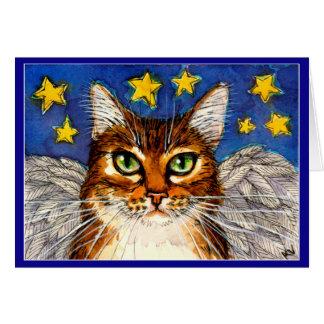 Cartão Ponte do arco-íris do gato do anjo