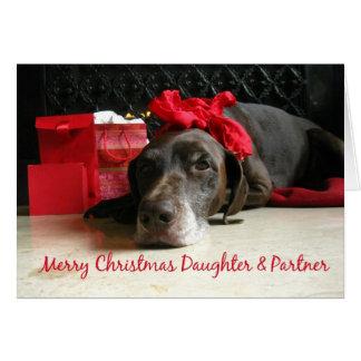 Cartão Ponteiro do Feliz Natal da filha & do sócio e GIF