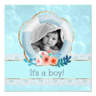 Cartão Ponto floral do Lifesaver náutico do bebé das