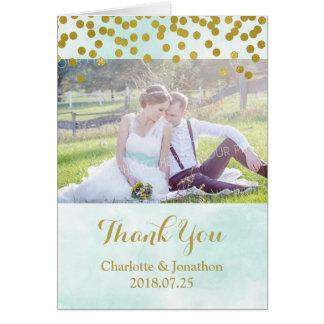 Cartão Pontos azuis do ouro da aguarela que Wedding o