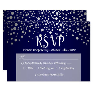 Cartão Pontos azuis escuro e de prata dos confetes - RSVP