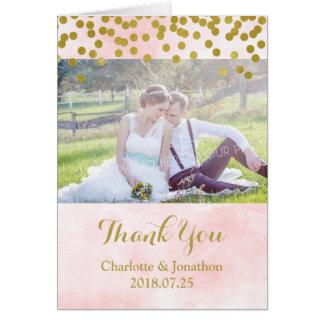 Cartão Pontos cor-de-rosa do ouro da aguarela que Wedding
