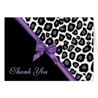 Cartão Pontos do leopardo e obrigado roxo da fita você