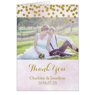 Cartão Pontos do ouro da aguarela do Lilac que Wedding o