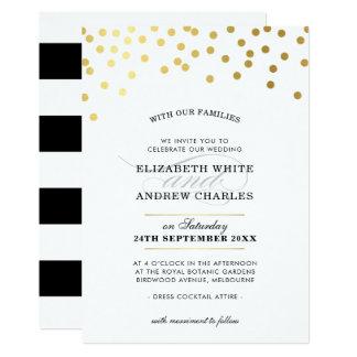Cartão Pontos modernos chiques dos confetes do ouro do