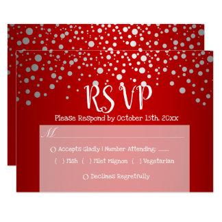 Cartão Pontos vermelhos e de prata dos confetes - RSVP