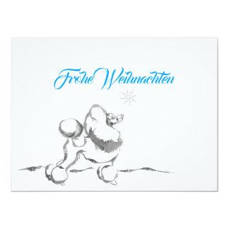 Cartão Poodle postal de natal
