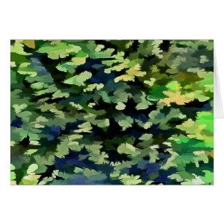 Cartão Pop art abstrato da folha em verde e no azul