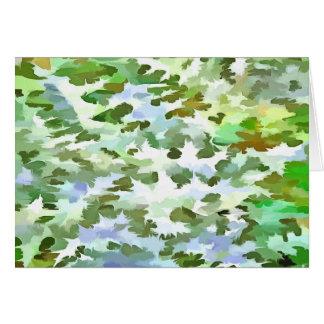 Cartão Pop art abstrato da folha no verde branco e no pó