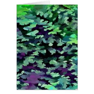 Cartão Pop art abstrato da folha no verde e no roxo de