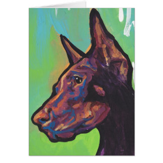 Cartão Pop art do cão do Pinscher do Doberman