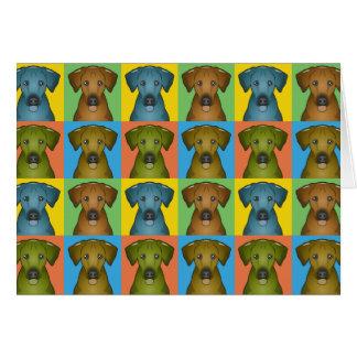 Cartão Pop art dos desenhos animados do cão de Rhodesian