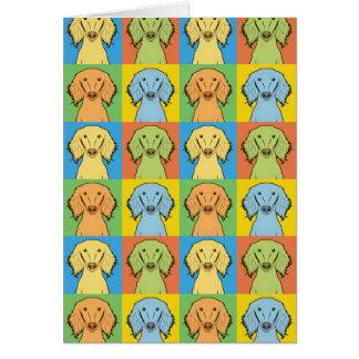 Cartão Pop art dos desenhos animados do cão de Saluki,