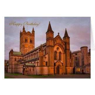 Cartão Por do sol da abadia e do ouro de Buckfast