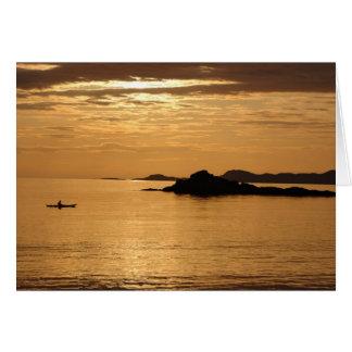 Cartão Por do sol da canoa em Arisaig