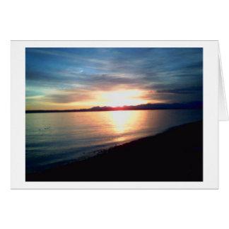 Cartão Por do sol da montanha olímpica