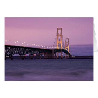 Cartão Por do sol da ponte de Mackinac