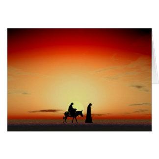 Cartão Por do sol de Mary e de Joseph