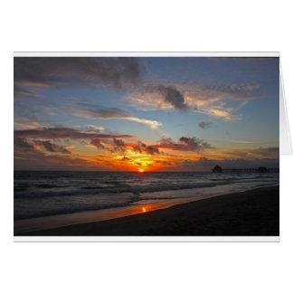Cartão Por do sol do cais de Huntington Beach